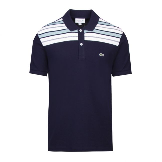 Mens Navy/White Stripe Shoulder Detail S/s Polo Shirt