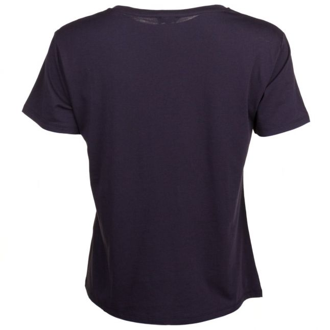 Womens Black Embellished Circle S/s Tee Shirt