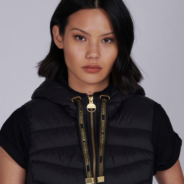 Womens Black Grid Quilted Gilet