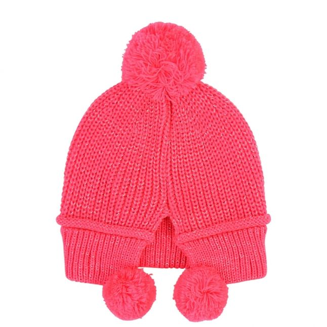 Girls Fuchsia Knitted Pom Face Hat