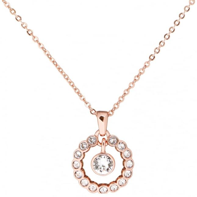 Womens Rose Gold & Clear Cadhaa Concentric Crystal Pendant