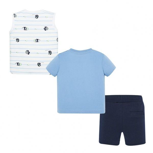 Infant Pale Blue S/s T Shirt, Vest & Shorts Set