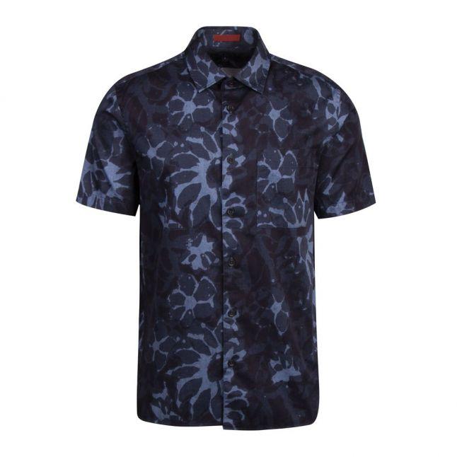 Mens Dark Blue Ufroze Abstract Print S/s Shirt