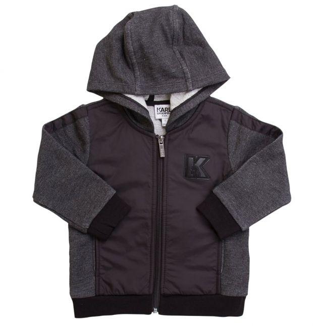 Karl Lagerfeld Boys Black Grey Hooded Zip Sweat Top