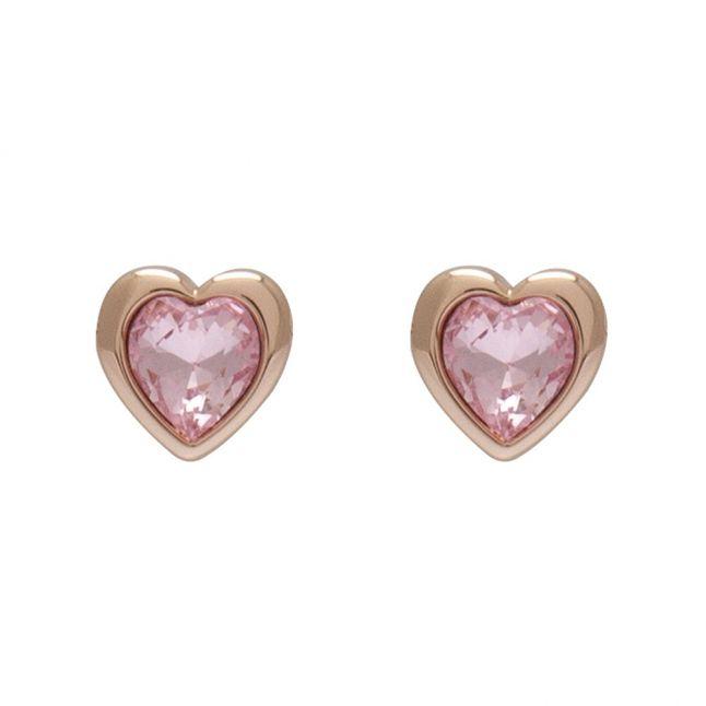 Womens Rose Gold/Light Rose Han Crystal Heart Earrings