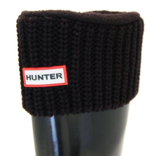 Womens Black Tall Half Cardy Stitch Wellington Socks