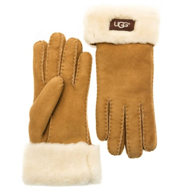 Womens Chestnut Classic Turn Cuff Gloves