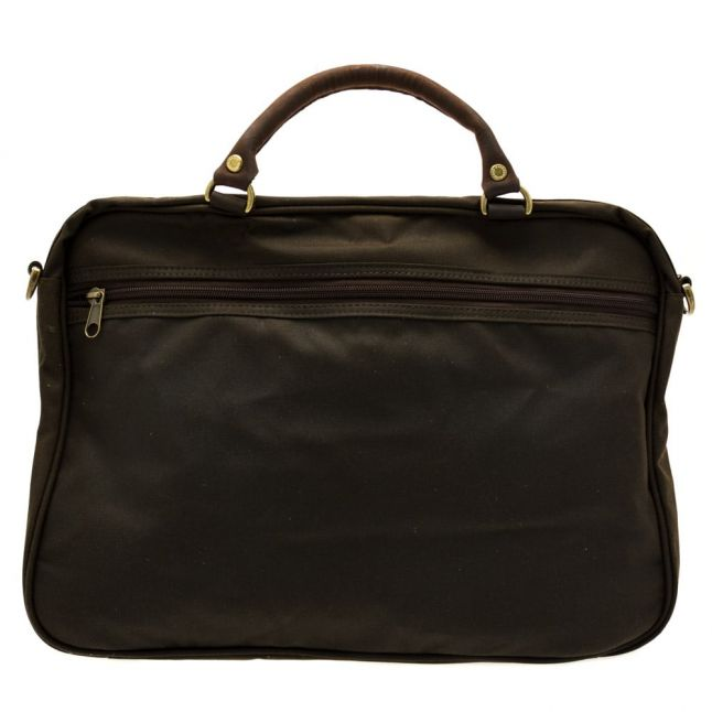 Lifestyle Mens Olive Wax Leather Briefcase