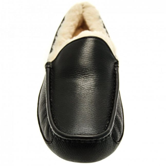Mens Black Leather Ascot Slippers