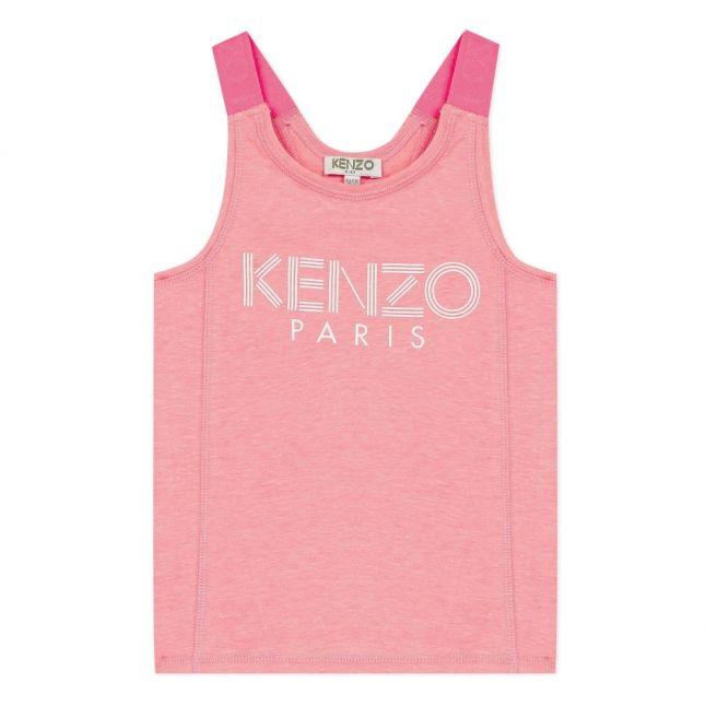 Girls Neon Pink Logo Vest Top