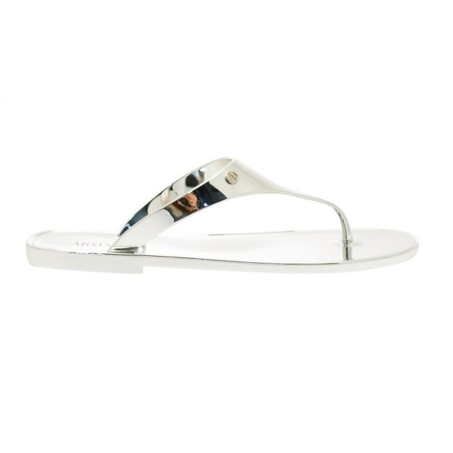 Womens Silver Mirrored Sandals