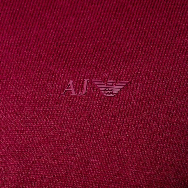 Mens Bordeaux Small Logo Crew Knitted Jumper