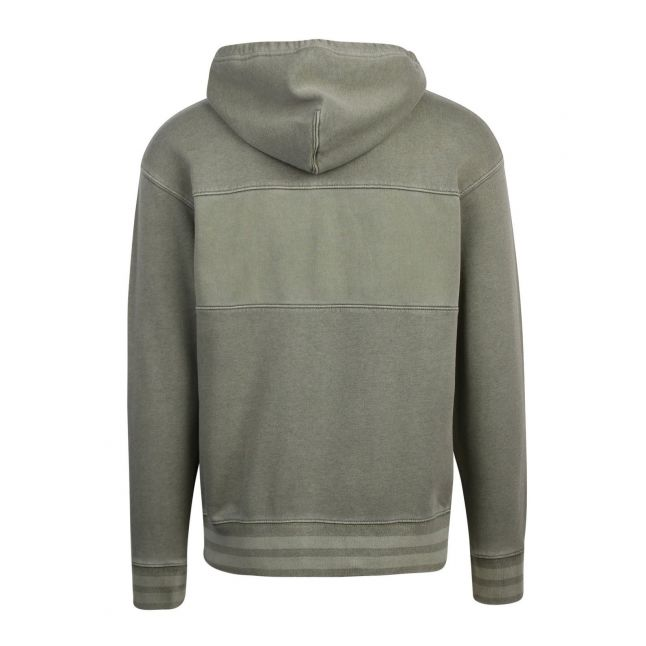 Mens Green Relaxed Garment Dyed Hoodie