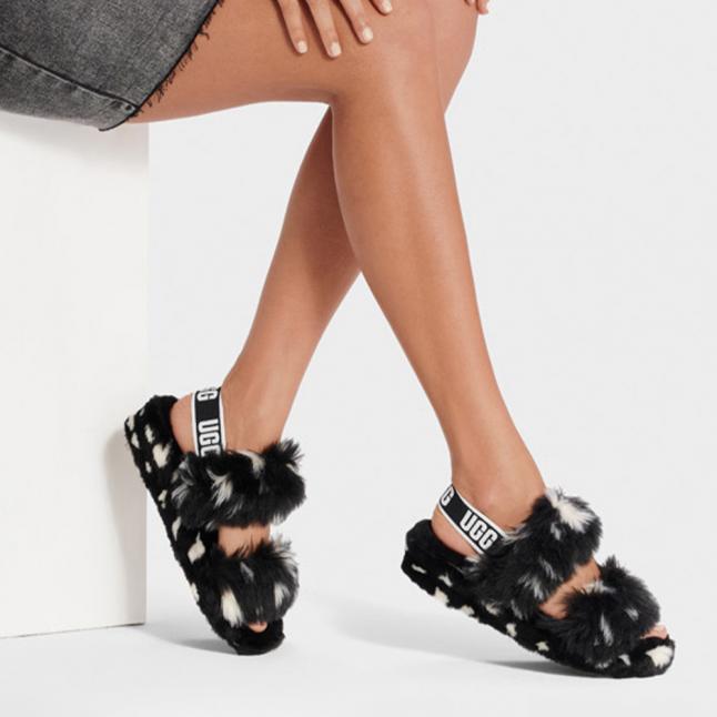 Womens Black Oh Yeah Spots Slide Slippers