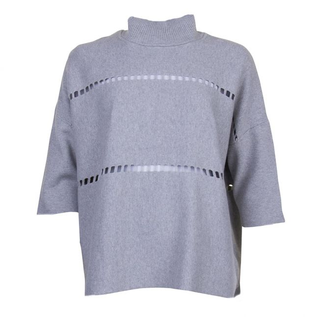 Womens Light Grey Melange Milano Mozart High Neck Knitted Jumper