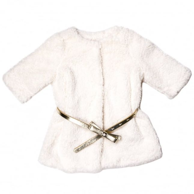 Baby White Belted Faux Fur Coat