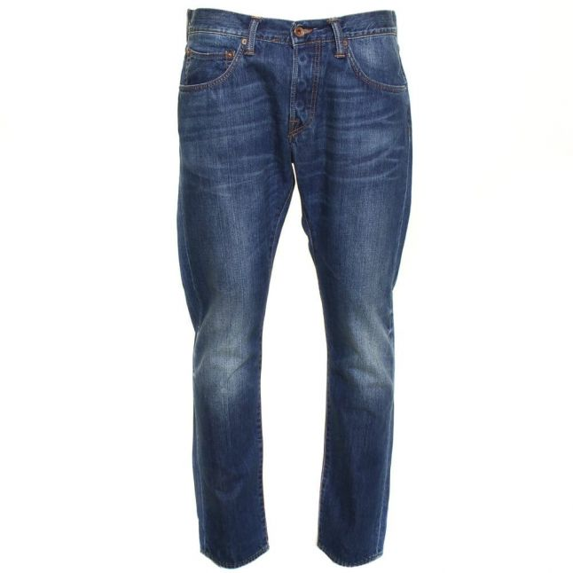 Mens 11.5oz Mid Blue Used Wash ED-55 Relaxed Tapered Fit Jeans
