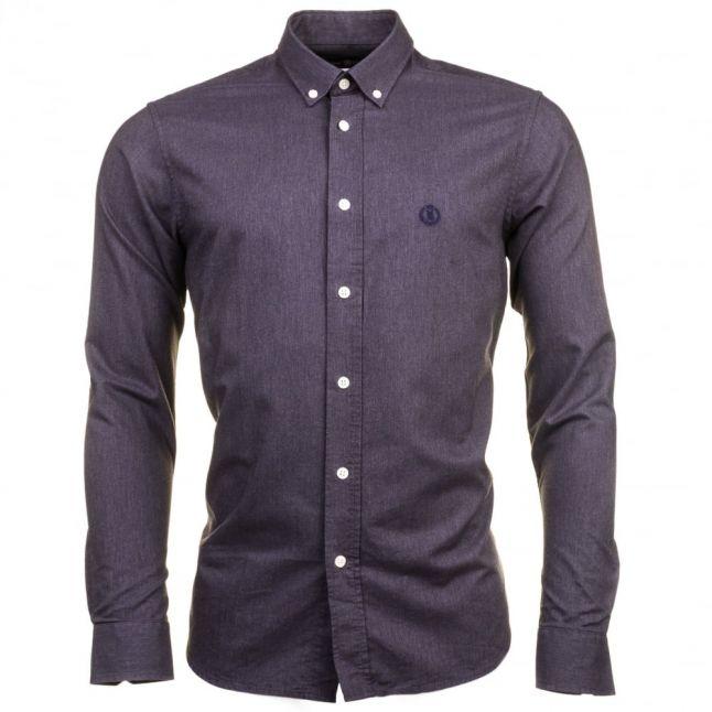 Mens Grey Melange Henri Club Regular Fit L/s Shirt