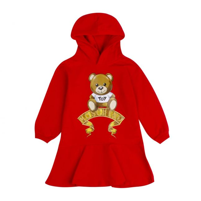 Moschino Girls Poppy Red Fancy Toy Hooded Dress