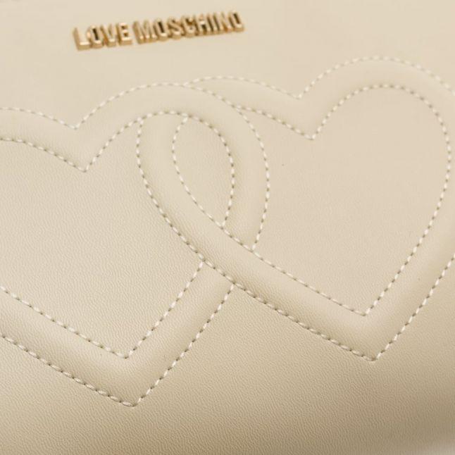 Womens Cream Heart Cross Body Bag