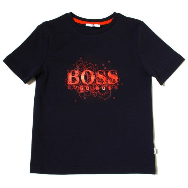 Boys Navy Branded S/s Tee Shirt