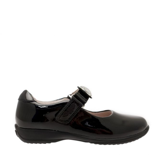 Girls Black Mandy F Fit Shoes (24-34)