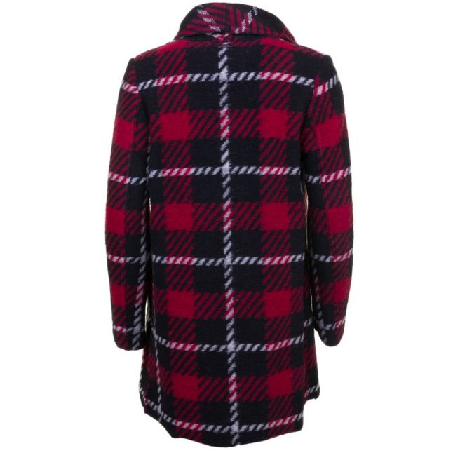 Womens Red Tartan Fringed Coat