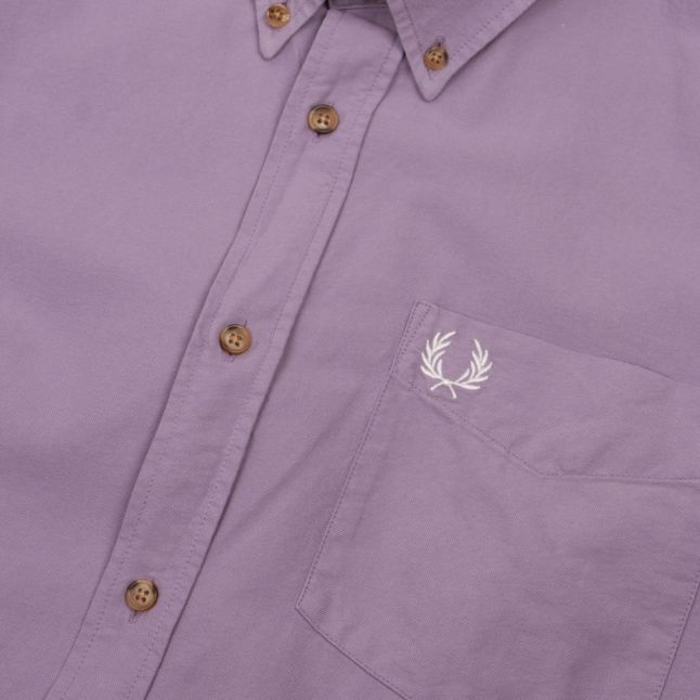 Mens Dark Lavender Overdyed L/s Shirt