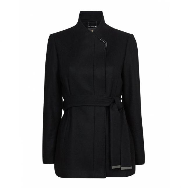 Womens Black Drytaa Short Wool Coat