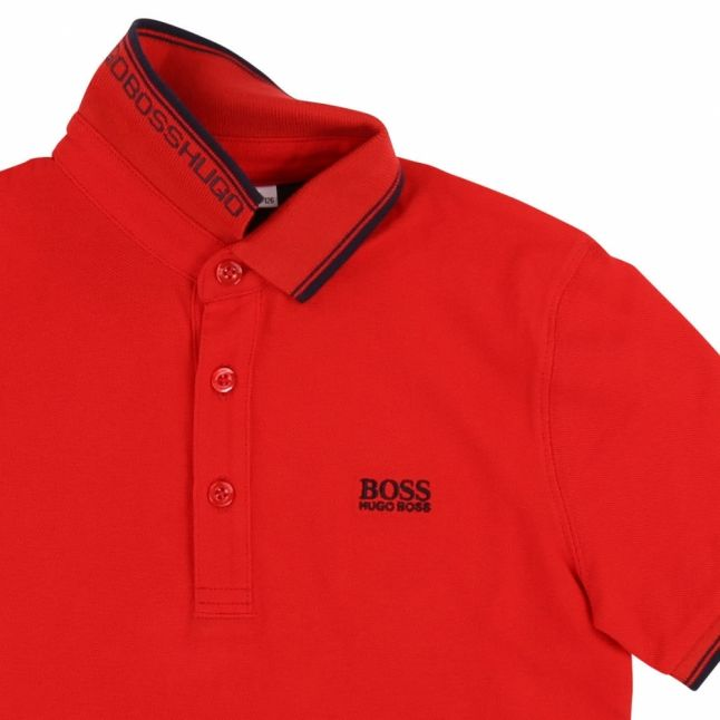 Boys Red Tipped S/s Polo Shirt
