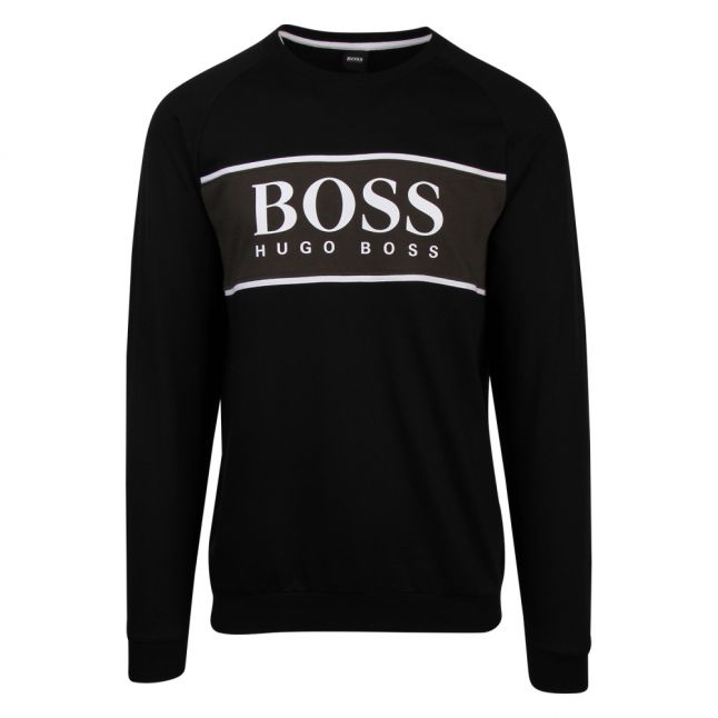 Mens Black/Khaki Authentic Block Logo Crew Sweat Top