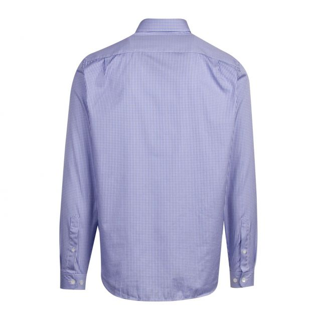 Mens Blue Gingham Regular Fit L/s Shirt