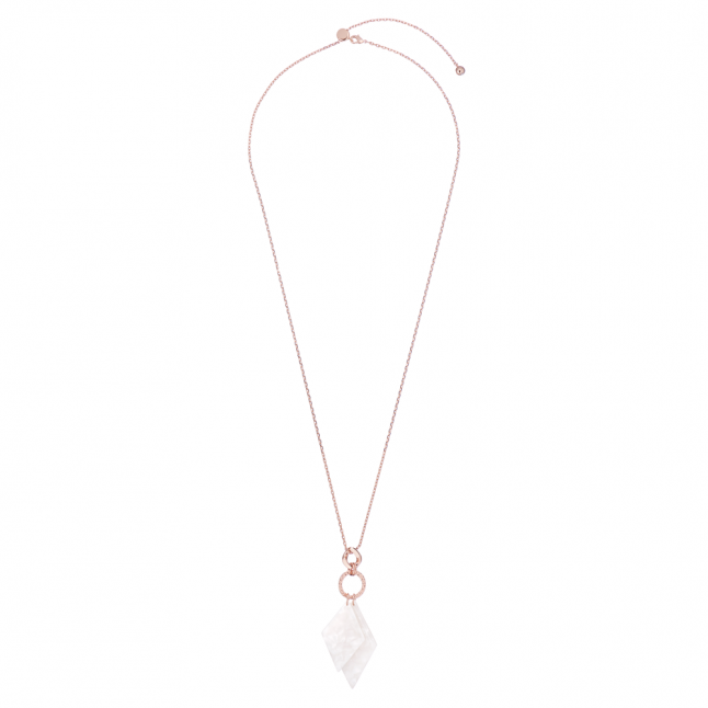 Womens Rose Gold/White Marble Dianee Double Diamond Pendant Necklace