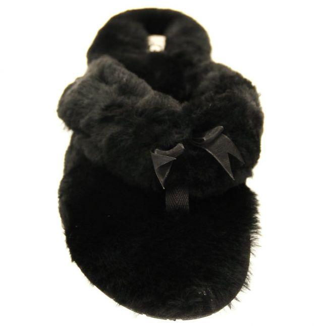 Womens Black Fluff Flip Flop II Slippers