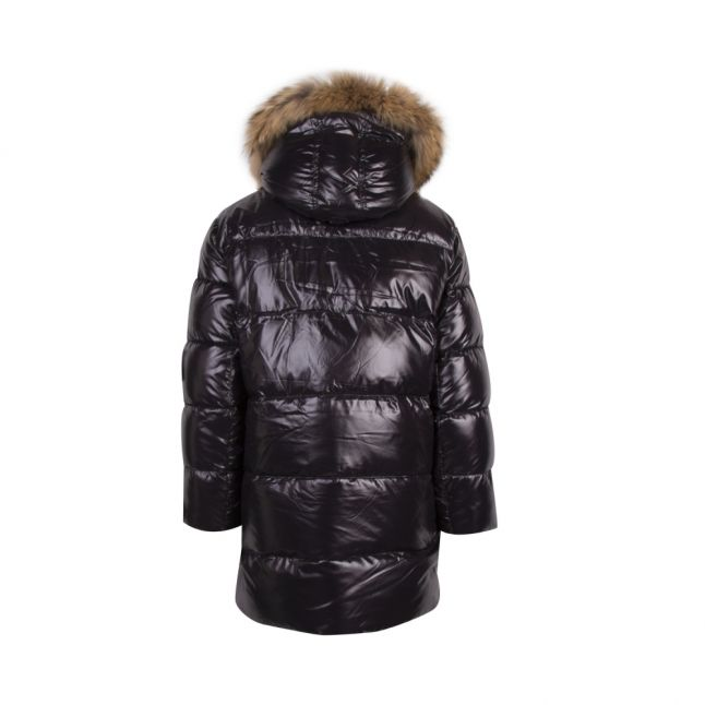 Womens Black Asta Fur Hooded Padded Coat