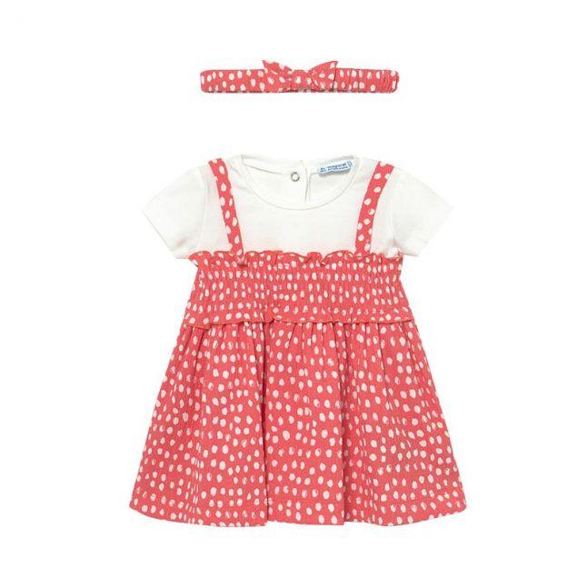 Infant Coral Spot Dress & Headband