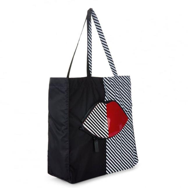 Womens Black 50:50 Lips Foldaway Shopper Bag