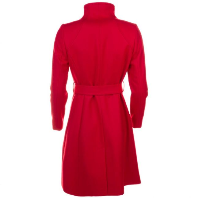 Womens Bright Red Aurore Long Wrap Collar Coat