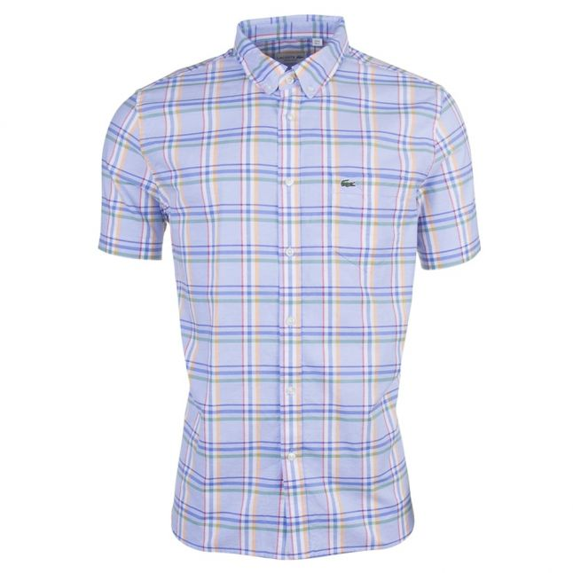Mens Blue & Mandarin Check Regular Fit S/s Shirt