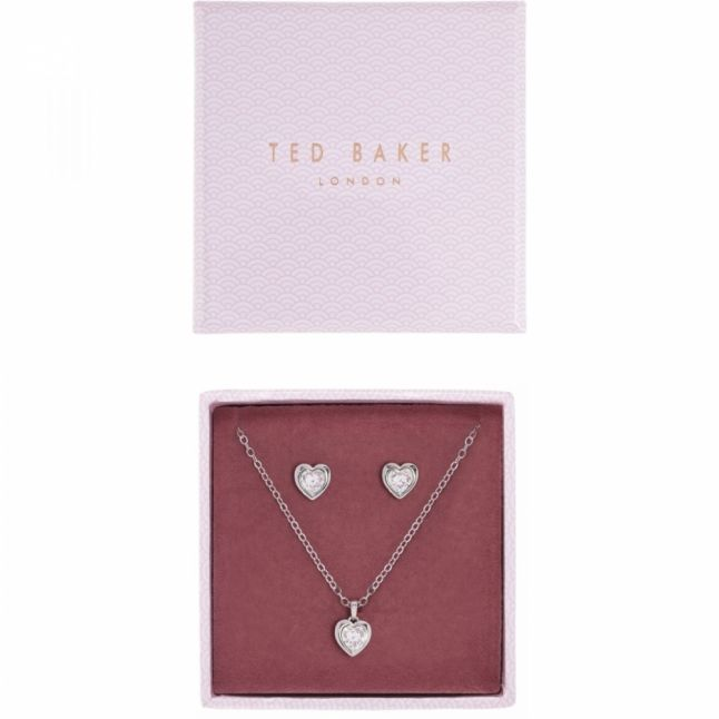 Womens Silver/Crystal Hadeya Heart Necklace & Earrings Gift Set