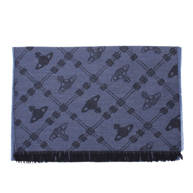 Womens Navy Up + Down Wool Scarf