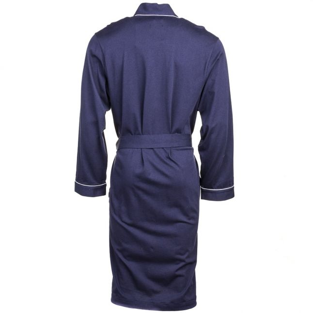 Mens Navy Cotton Trimmed Robe