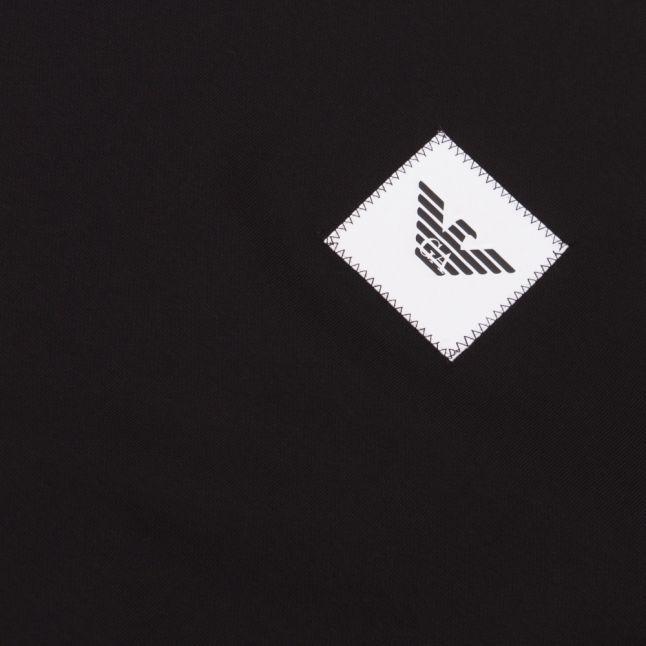 Mens Black Branded Patch Crew Sweat Top