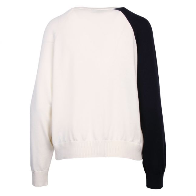 Womens Off White Tri-Colour Knitted Jumper
