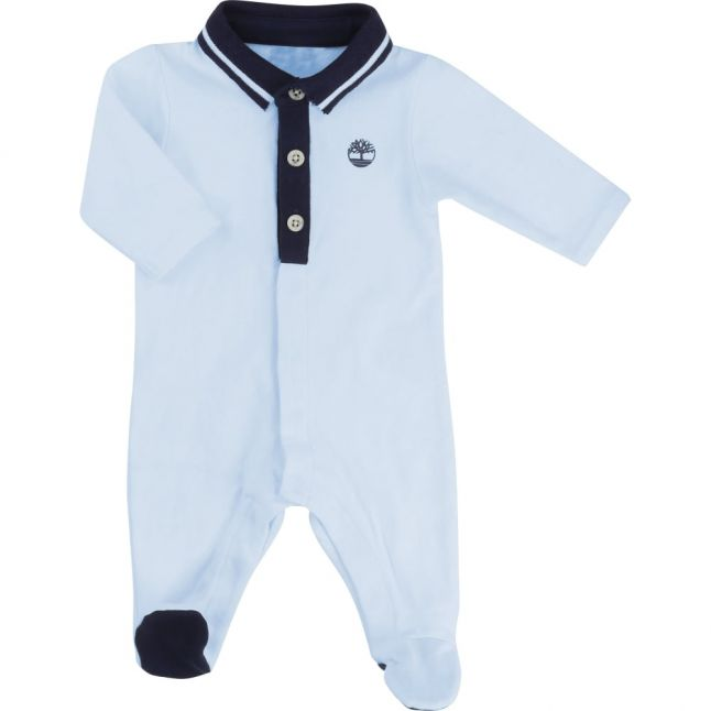 Baby Pale Blue L/s Polo Babygrow