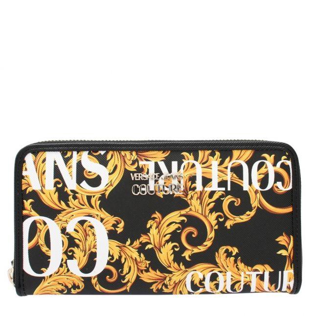 Womens Black/Gold Baroque Print Zip Around Purse