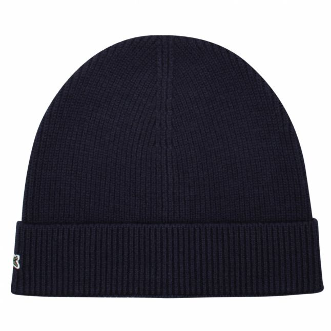 Mens Navy Knitted Roll Back Hat