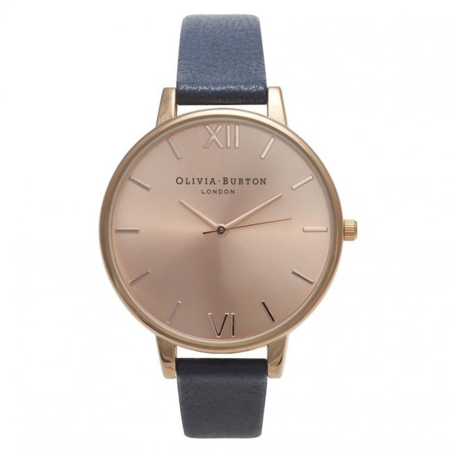 Womens Navy & Rose Gold Big Dial Watch