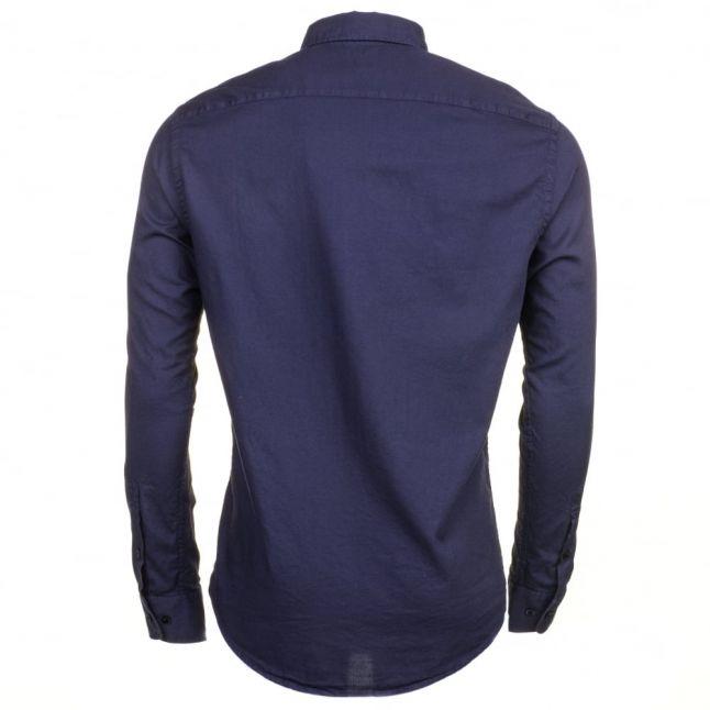 Mens Blue Textured L/s Shirt