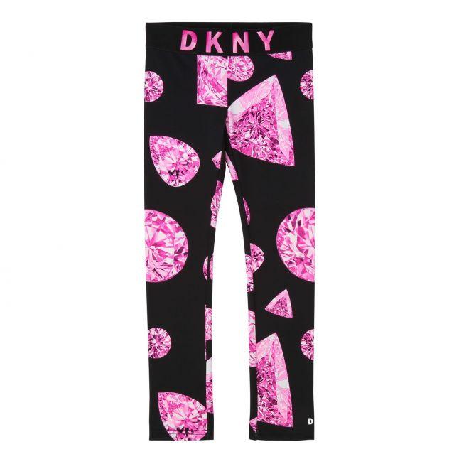 Girls Black/Pink Jewel Print Leggings